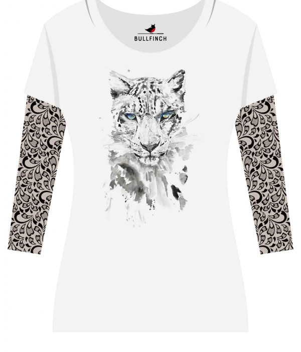 Купить Лонгслив Леопард рукав Кружева
