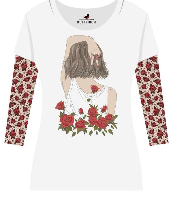 Купить Лонгслив Девушка с розами рукав Роза
