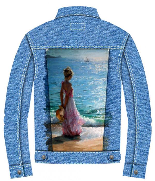 Купить Джинсовая куртка Девушка у моря