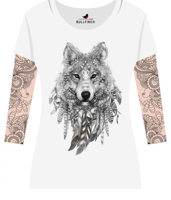 Купить Лонгслив Волк рукав Тату