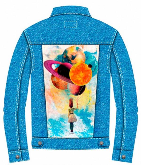 Купить Джинсовая куртка Девочка с планетами