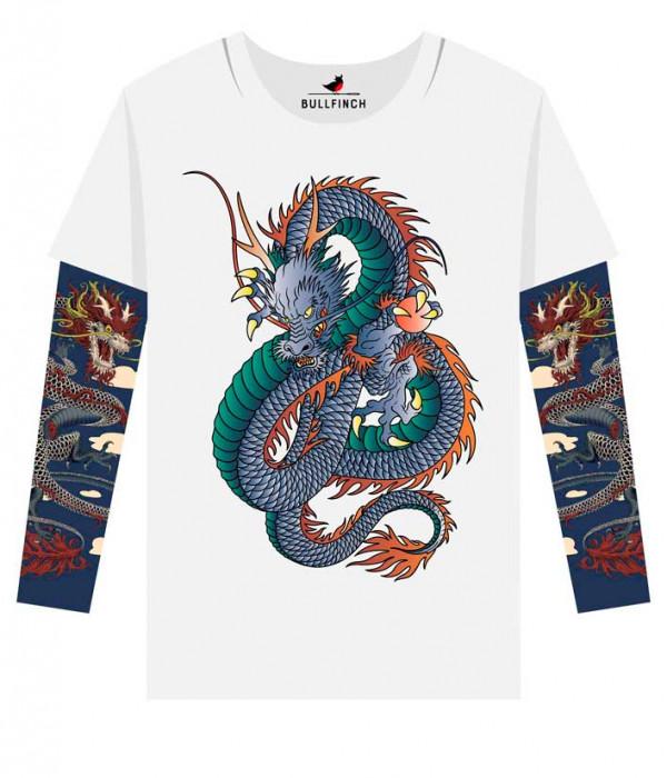 Купить Лонгслив Японский дракон рукав дракон