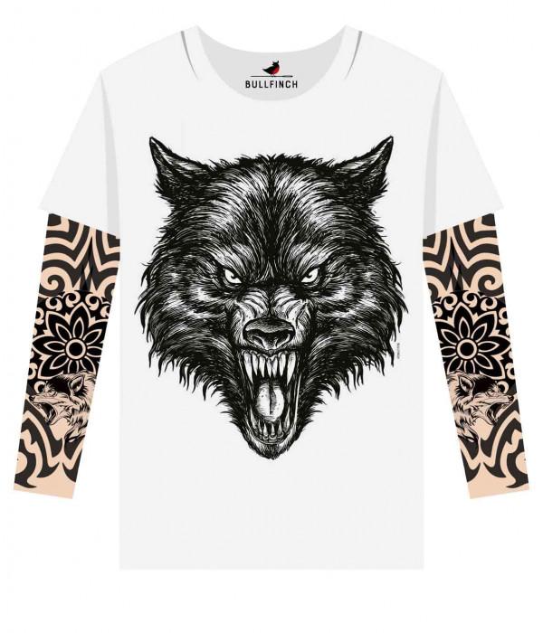 Купить Лонгслив Черный волк рукав волк