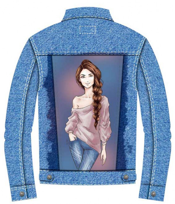 Купить Джинсовая куртка Девушка с косой
